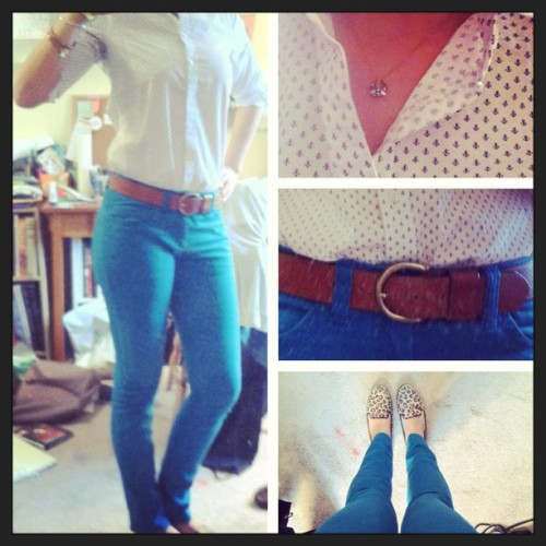 Outfit of the Day 4.29.13 - Anchor Shirt, Perfect Leather Belt: #madewell; Garment Dyed Jeans: #handm; Leopard Loafers: #target #ootd #wiwt #fashion #picstitch