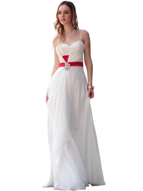 EDEN IN WHITE WEDDING DRESS WITH RED BELT  SKU# 30616 Be the first to review this product Availability: In stock £210.00