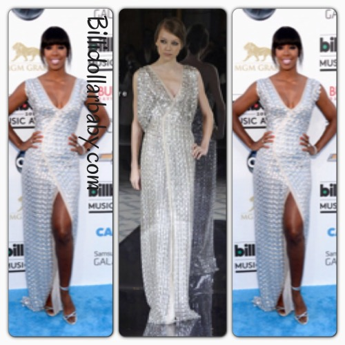Kelly Rowland in Rami Al Ali at the 2013 Billboard Music Awards Kelly Rowland on the blue carpet at the MGM Grand Garden Arena for the 2013 Billboard Music Awards in Las Vegas.  She wore a silver Rami Al Ali Couture Gown from the Spring 2013 Collection.