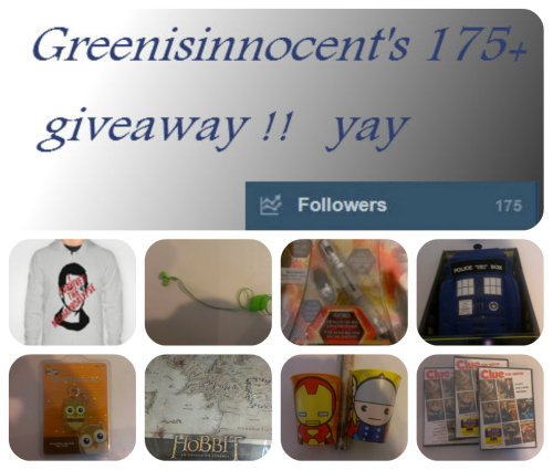 greenisinnocent:  Ok I am so happy with all you wonderful people who follow me I was happy when I reached double digits!! So to thank all of you I am doing a giveaway it is for only for those who follow me like and reblogs count randomly chosen winners there will be three winner's I am willing to ship anywhere that is physically possible so sorry anyone from Narnia :( The winners are going to be chosen on 5/15/2013 I will message you and you have 24 hours to respond you can choose you prize Prize #1 a I survived the mishapocolypse sweater size XL and a pair of retractable ear buds in the colors red, blue, and green of your choice Prize #2 The tenth doctors screwdriver that has lights and sound and awesomeness and a tardis that is a plush and makes sounds and lights up Prize #3 an owl usb drive a thor and an iron man cups and a poster map of middle earth All prizes come with ac copy of clue like it or not I is my favorite movie and I am sharing it with you