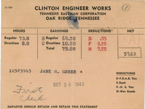 A 1943 pay stub for a Y-12 statistician in Oak Ridge.