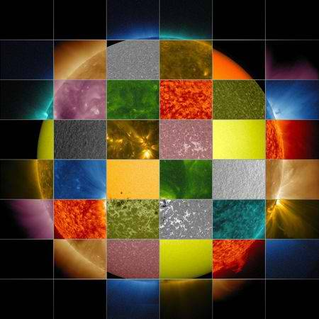 cozydark:  Multicolored Sun | The sun is more than meets the eye, and researchers should know. They've equipped telescopes on Earth and in space with instruments that view the sun in at least ten different wavelengths of light, some of which are represented in this collage compiled by NASA and released January 22. (See more pictures of the sun.) By viewing the different wavelengths of light given off by the sun, researchers can monitor its surface and atmosphere, picking up on activity that can create space weather. If directed towards Earth, that weather can disrupt satellite communications and electronics—and result in spectacular auroras. (Read an article on solar storms in National Geographic magazine.) The surface of the sun contains material at about 10,000°F (5,700°C), which gives off yellow-green light. Atoms at 11 million°F (6.3 million°C) gives off ultraviolet light, which scientists use to observe solar flares in the sun's corona. There are even instruments that image wavelengths of light highlighting the sun's magnetic field lines. Image courtesy SDO/NASA (via scinerds)
