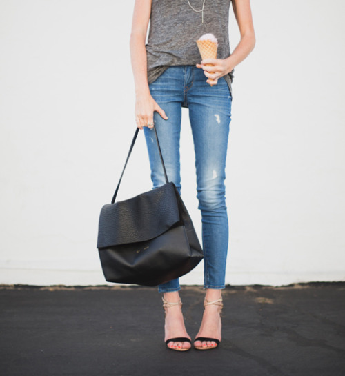 peoplewithstyles:  Joie top, Rich & Skinny jeans, Alexandre Birman heels, Celine bag [source: couldihavethat]
