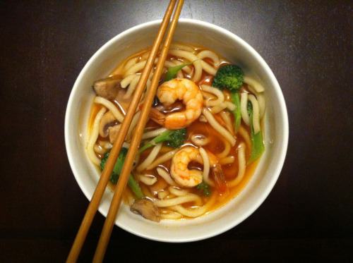 Semi-Homemade (upgraded) shrimp broccoli and mushroom udon. Cause the weather is strangely cold for late February in SoCal but at least I won't starve.