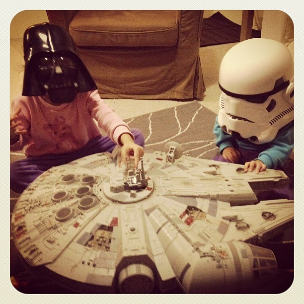 My girls playing Star Wars.