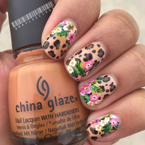 #nailuscious #nailartjan @californails #nailart #day8 #animal #print #cheetah #leopard #floral #jungle #cute #fun #nails for this I used @chinaglazeofficial ...