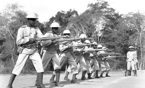 bag-of-dirt:  Ghanaian members of the 81st (West Africa) Division infantry serving as part of the British Fourteenth Army practice maneuvers during the Burma Campaign against Imperial Japanese forces. The division took part in the successful third campaign to oust the Japanese from the Burmese province of Arakan in December 1944.