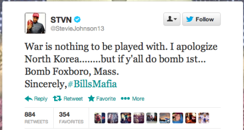Uh … Stevie Johnson is just joking about bombing the Patriots, I guess.