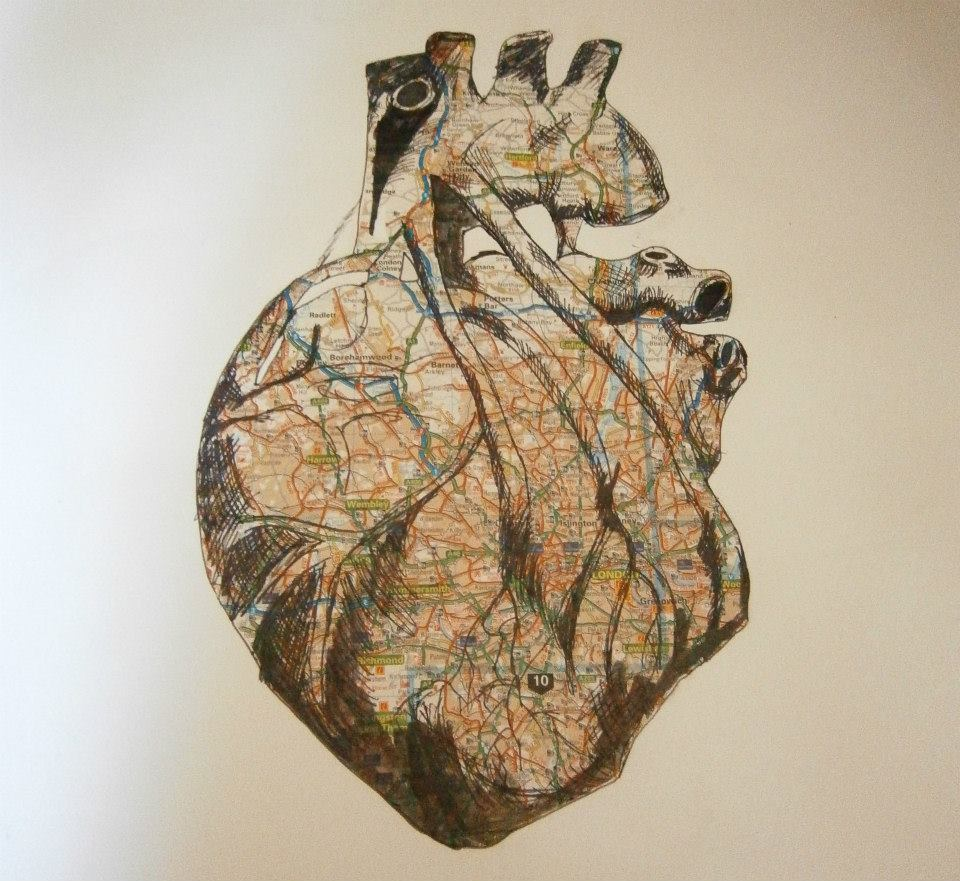 darksilenceinsuburbia:  Beth Ransom Heart Of London 2012 Atlas, ink and pen A3 insanityfactory.tumblr.com