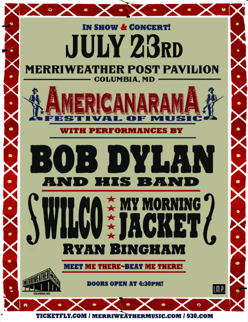 PREVIEW: Americanarama Festival of Music YEAH, OK, SO LET'S TALK ABOUT THIS LINE-UP. It might be what dreams are made of. Not that these three need much of an introduction, but just for kicks, let's break it down. Over 30 albums in, Bob Dylan is undoubtedly one of rock's living legends. Poetic lyrics, a signature sound,  furious touring, and the ability to still create fantastic records (last year's release, Tempest, received rave reviews), Dylan is one of those acts you just HAVE to see once. Or twice…or three times… With his band in tow, fans are in for a special evening showcasing why he is one of the greats.  Joining Dylan are rockers My Morning Jacket. Frontman Jim James has been busy supporting his debut solo record (anyone catch his awesome show at the Club last week?), but the entire band is back to melt faces with their blistering live show. The Kentucky boys promise to turn the amps up loud, jam a little, and leave you with a smile on your face. The band also knows how to mix things up- being known to change their setlist nightly, you never know what surprises you're in for! Rounding out Americanarama are Wilco, indie/alternative godfathers, who have been making crowds happy for over 15 years now and are no strangers to MPP. Hitting the road for this epic tour right off of their very own Solid Sound Festival, Wilco's upbeat, dynamic show will either: further your love for Jeff Tweedy & Co., or turn you into a fan for life. Like MMJ, to add to the excitement, the band constantly changes their sets, which span their entire career. Basically, to say they've got it down would be an understatement!   All three of these acclaimed acts together in one night? You'd be a fool not to snatch up tix! -Samantha Turnbull