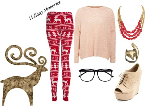 Holiday Memories by aly1-2-3 featuring h&mJumper sweater, $32 / Printed pants, $32 / Charlotte Russe lace up wedge booties / Red jewelry / Aubin & Wills christmas jewelry, $11 / H&M , $9.69