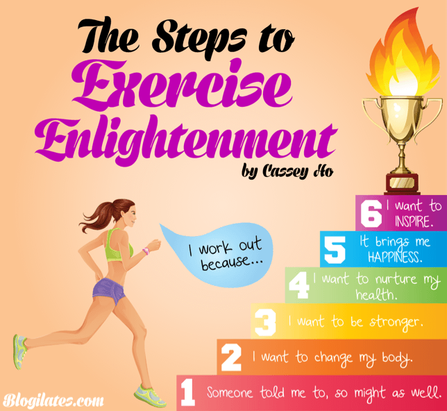Where do you land on the Steps to Exercise Enlightenment? I just made this chart after having an inspirational talk with a fellow fitness friend. You can read more into what each level means on my blog [click here] and see what it says about you. Please share, pin, reblog and ask your fit fam where they land! You gotta be honest with yourself though to reach enlightenment! <3 Cassey