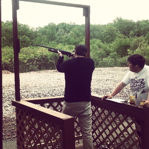Shooting clays with @mkcascio.