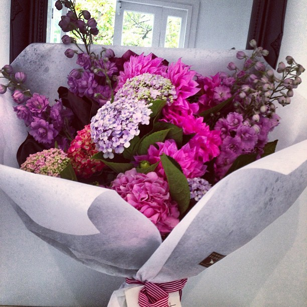 hermioneolivia:  And then the most beautiful bunch of flowers I've ever seen arrive… Thank you @vickileelee @__ted__ we LOVE you both xxxxx