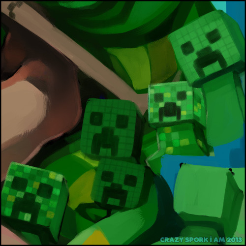 So many #minecraft #creepers!  My WIP for Geeky Glamorous :D