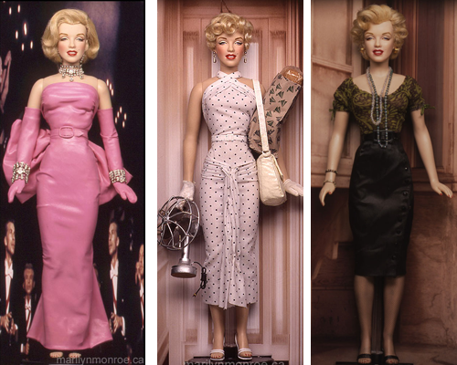 "vintagegal:   Kim Goodwin's One-of-a-Kind custom Marilyn Monroe dolls Using the Franklin Mint doll as a vinyl ""form,"" Kim strips it down to basics and starts fresh. He skillfully and meticulously adds hair, make-up, clothing and accessories specific to Marilyn's character and costume in each film. He doesn't sew, but brilliantly finds ways to approximate Marilyn's original movie costumes. These dolls are not for sale.  (x)"