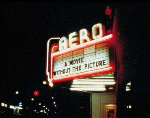 visual-poetry:  »a movie will be shown without the picture« by louise lawler (1979)   in 1979 louise lawler screened the 1951 john houston film »the misfits« at the aero theatre in santa monica. she played only the audio portion of the film, leaving the screen blank for the duration.   [via]