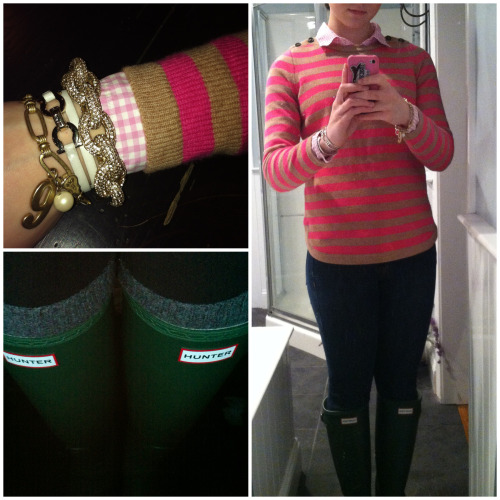 ootn; shopping and dinner in Boston with mommy!  Sweater: Madewell Blouse: J.Crew Jeans: J.Crew Bracelets: (1) antheropologie, (2) farragamo, (3) J.Crew Boots: Matte hunter green Hunters  Socks: J.Crew