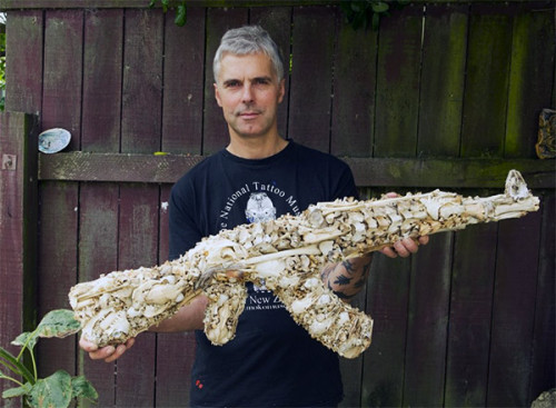 Awesome art of the day: AK-47 replica made from animal bones It's not a working gun, but it's a hell of a conversation piece. By Bruce Mahalski Via