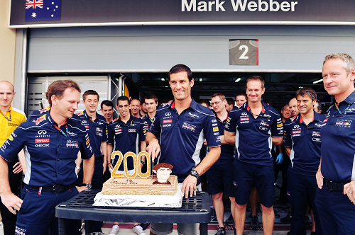 Mark Webber celebrates his 200th Grand Prix start