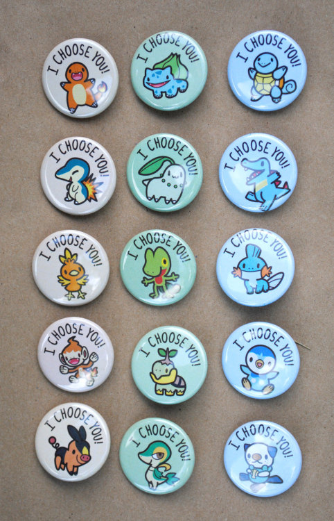 dotcore:  Pokémon Starter Buttons.by Jennifer. Available at Etsy.