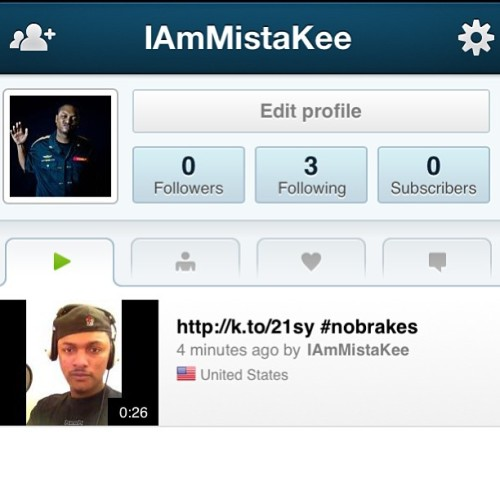 Go download the Keek app and subscribe to me! My username is IAmMistaKee http://keek.com/getapp #keek #nobrakes I'm #me