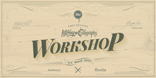 Lettering vs Calligraphy OFFICIAL WORKSHOP - 2/3 March 2013 - Berlin @Betahaus.  The first workshop that combines both, lettering and calligraphy. In a 2 days calendar, the participants will explore the two technical approaches as combinatory tools within the same design process.The workshop consists in theoretical input combined with hands-on-work and critique rounds. It is ideal for art and design students and professionals who want to explore the possibilities of calligraphy in combination with drawing techniques and digital tools. In a few words, we will use writing and drawing for creating an unique typographic unit (or more). You will walk away from this workshop with a sharper eye when working with letters and with practical tools that will improve your own creative work.The sessions will be conducted by Letterer Martina Flor and Calligrapher Giuseppe Salerno and will take place on the 2nd and 3rd of March (saturday from 13 to 19 pm and sunday from 13 am to 19 pm) at Betahaus Berlin. The workshop will be documented in ourletteringsvscalligraphy.com site and participants will get an official LVSC diploma. There will be prizes for the most outstanding!   What will be provided: Most of the basic material is provided (paper, ink and calligraphic tools), however you're invited to bring your own to improve your variety of tools. Scanners and printers will be in the place. What you need to bring: your favourite automatic pencil and your own laptop with Adobe illustrator installed. Price: Early Bird €170 till 15 of February / €200 MORE INFOS
