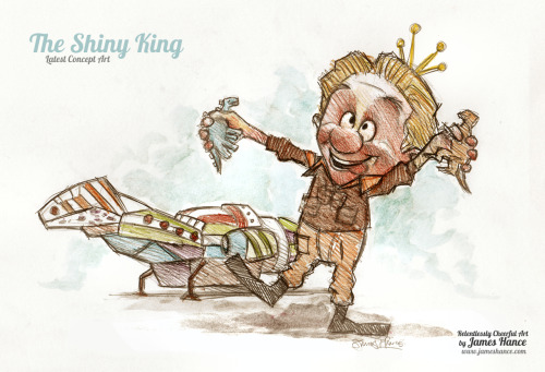 jameshance:  Latest Concept Art - 'The Shiny King' (Firefly / Wreck-It Ralph) Alan Tudyk (Firefly's 'Wash') voiced the Candy King with such ridiculous perfection, I just had to show my appreciation with a doodle :) I'll make a nice big, colorful splashy thing out of this, soon. Thanks for your niceness! xMy site / My Facebook / Original Art on eBay