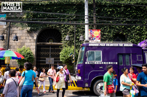 Aside from the usual red trucks, volunteer firefighters based in Binondo use their own colors, from green to violet. Here is one of Binondo's ube-colored fire trucks. Coincidentally, they're all parked across a shop that is known for ube hopia. February 4,2013|Binondo, Manila