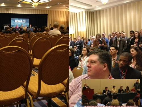 buzzfeedpolitics:  At CPAC opponents of gay marriage spoke to nearly empty rooms while supporters spoke to a standing room only audience.