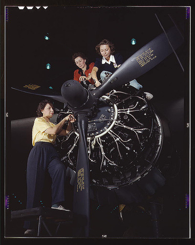 33% of the workforce were women at the end of World War II. In Oak Ridge, Tennessee, a war community of 75,000 worked for the war effort, and although their community used more electricity than New York City, their project was unknown. Secrecy was a requirement. A rumor coould cost you your job and home. Little did they know that they were enriching Uranium to create the World's Deadliest Weapon: The Atom Bomb. Denise Kiernan describes the lives of the young Southern Women  recruited to work at Oak Ridge, who considered their stay temporary. Now forming the nucleus of the town, they reflect back on what their effort meant for themselves, and the world.   Girls of Atomic City : the untold story of the women who helped win World War II - Denise Kiernan (Link to Catalog) Women at work on C-47 Douglas cargo transport, Douglas Aircraft Company, Long Beach, Calif. (LOC) (FSA / Office of War Information Color Photographs)