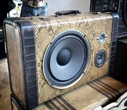 (via See boomboxes being made out of vintage suitcases) Chicago artist Floyd A. Davis creates beautiful boomboxes out of vintage suitcases. WATCH HERE