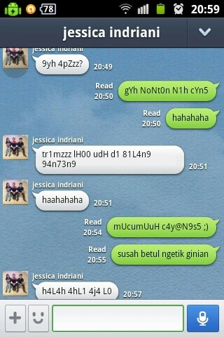 last night's chat with Mang-Mang. Bon, ngga ngerti lagi gue mesti berkata apa with Jessica – View on Path.