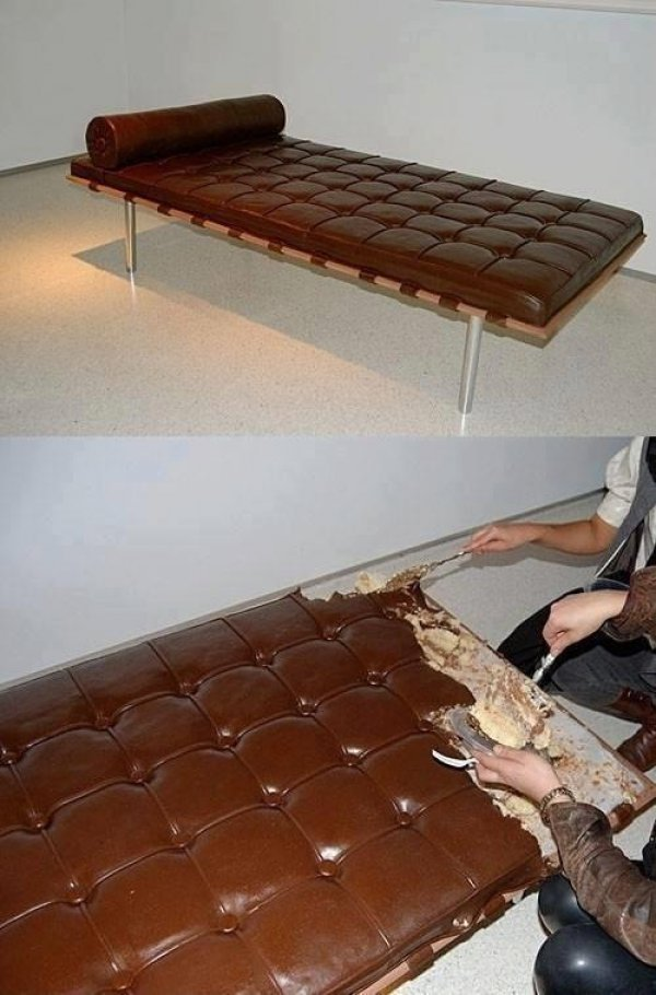 collegehumor:  This Couch is Actually a Cake Don't eat your dessert before you've had your fill of couch potatoes.
