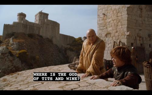 fucking-game-of-thrones:  1/2 [Spoilers S03E08] Tyrions continuity of the gods  moar gameofthrones