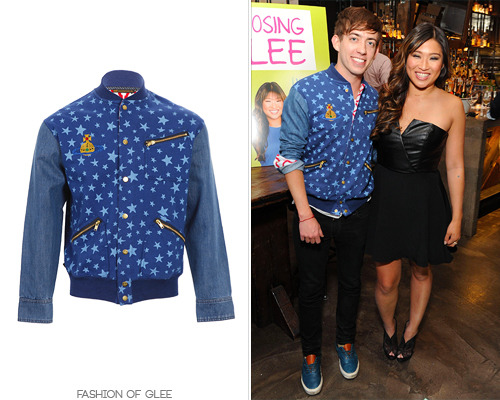 Kevin McHale and Jenna Ushkowitz appear at the Choosing Glee release party, New York City, May 14, 2013 Thanks wildebrams! Vivienne Westwood Anglomania + Lee Star Varsity Jacket - $310.00