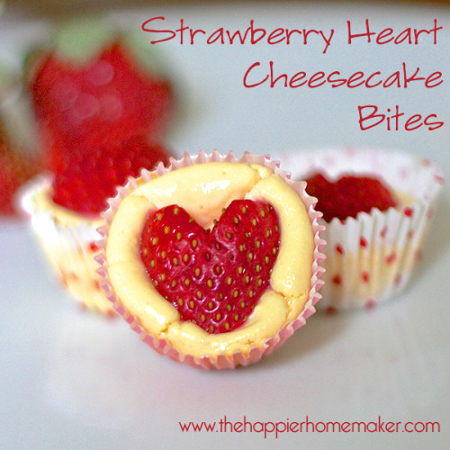 Strawberry Heart Mini Cheesecake Bites, so lovely for Valentine's : the happier home maker.