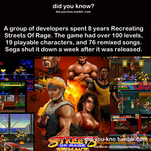 funnynerdystuff:  did-you-kno:  Source     Dude, I love Streets of Rage, but did no one look into the legality of this project in the 8 years it took them to make it? Kind of sad that all that hard work went to waste.