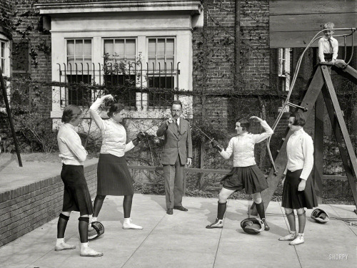 "lostsplendor:  ""These Washington society girls will compete for fencing title of the District of Columbia"" April 16, 1930 (via Shorpy Historical Photo Archive)"