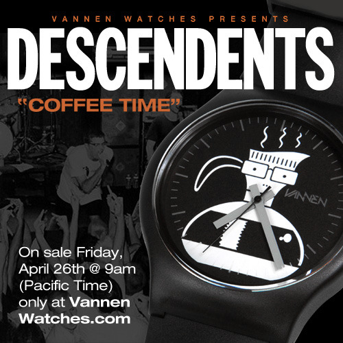 "Descendents ""Coffee Time"" watch on sale this Friday, April 26th at VannenWatches.com We know you're bummed that you missed out on Coachella, but we've got something to cheer you up: we held back a few Descendents ""Coffee Time"" watches just for you! Coffee Time goes on sale this Friday, April 26th at 9am (Pacific Time) only at VannenWatches.com Available for the super low price of $60, Coffee Time features coffee-tastic artwork by Descendents artist Chris Shary, with hour/minute/second markings pad printed on the inside of the crystal giving this glorious black and white design some serious pop. Each box comes signed by Chris Shary and one lucky box also contains an original drawing of his hidden inside.  We only held back a few Coffee Time watches, so get yours while you can. See you Friday!"