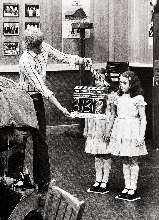 vintagegal:  Lisa and Louise Burns as the Grady girls on the set of The Shining (1980)