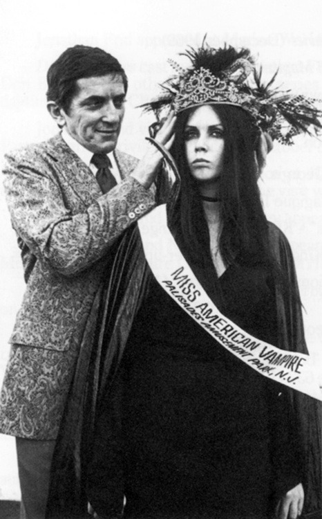 "weirdvintage:  Jonathan Frid crowns NJ-native Christine Domaniecki ""Miss American Vampire"", 1970 by Chris Wild"