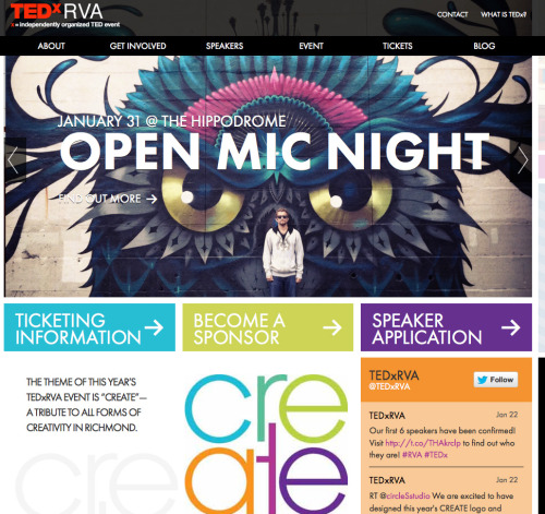 tedxrva:  Our website is LIVE! Check it out at www.tedxrva.com!  Check out the TEDxRVA website designed by circleSstudio and COLAB.  3north is also helping out this great event as it comes to Richmond.
