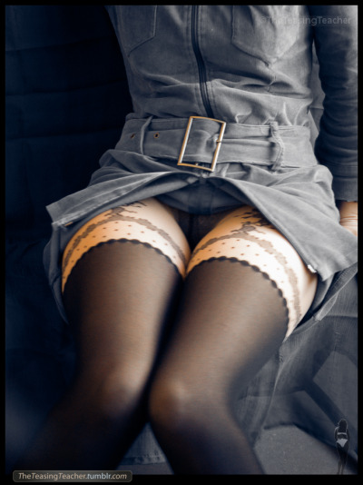 theteasingteacher:  Denim dress 1Pantyhose Series.  ©TheTeasingTeacher