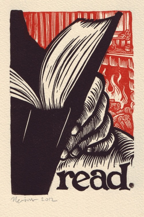 "vsworkshops:   Peter Nevins 2012 ""Read"" / Linocut print read. A linocut print on Arches cream … by TortillaPress on Etsy"