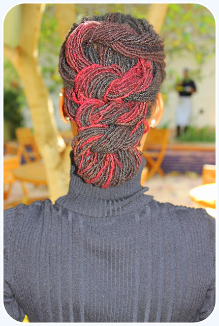dreadfullydyed:  Red sisterlocs in a braid