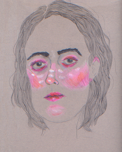 eatsleepdraw:  Self portrait Colored pencil and ink pen on Canson