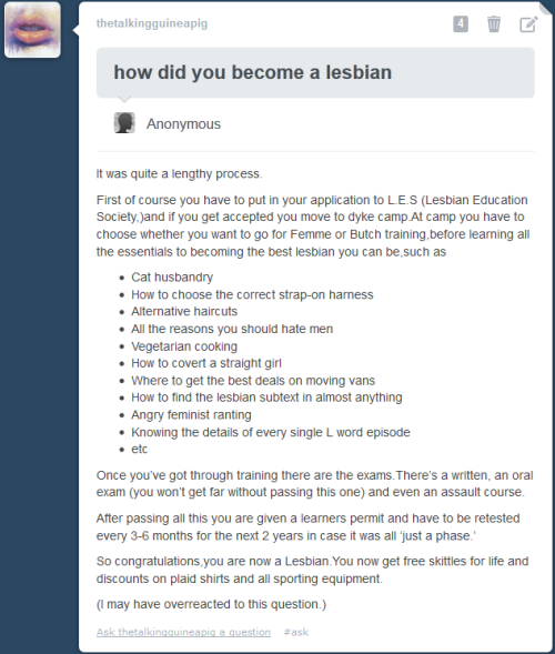 thelesbianguide:  Perfect answer.