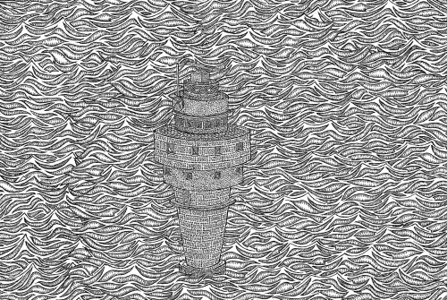 "nostalgicgoon:   J. Powers Bowman, Lighthouse. Collage, pen and ink. 17""x 11"". 2013"