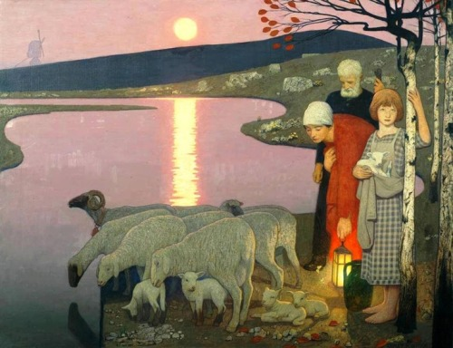 ollebosse:  Frederick Cayley Robinson - Pastoral, 1923-24. Oil paint on canvas, 903 x 1164 mm; 1300 x 1575 x 105 mm (framed). Tate Gallery, London, UK